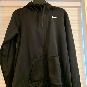 Black hooded zip up sweat shirt